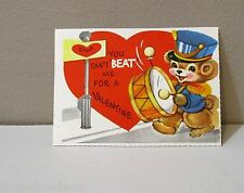 Vtg Card 60's Teddy Bear Parade Bass Drum Can't Beat Me for a Valentine Unused
