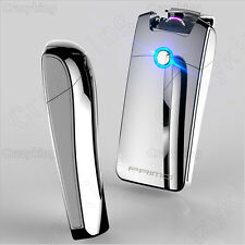 Super Cool Plasma Electric Arc Laser Silver Cigarette USB Lighter Rechargeable