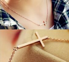 "Stainless Steel ""Sideways Cross"" Pendant Rose Gold Plated Necklace Gift Box P42"