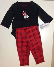"""Carter's Girls """"Cozy"""" Black Bodysuit & Plaid Pant Set - Size 3 months- NEW"""