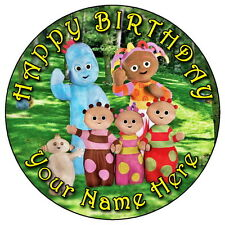 "IN THE NIGHT GARDEN - 7.5"" PERSONALISED ROUND EDIBLE ICING CAKE TOPPER"