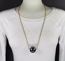 """Grey big huge faux pearl necklace bead beaded 29"""" long statement sweater gold"""