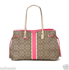 Coach Bag F30521 Signature Stripe Drawstyring Large Carryall Pomegranate COD