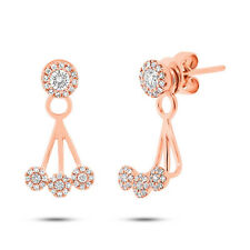 0.37CT 14K Rose Gold Diamond Ear Jacket Stud Earring G SI1 Natural Dangle