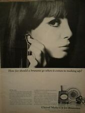 1966 Clairol Makeup Cosmetics Foudation For Brunettes Woman Earrings Ad