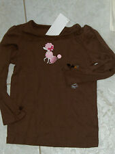 "NWT - Gymboree ""Parisian Chic"" long sleeved brown & pink poodle top - 4 girls"