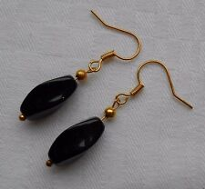Unique handmade black onyx earrings gold plated twisted beads free stoppers