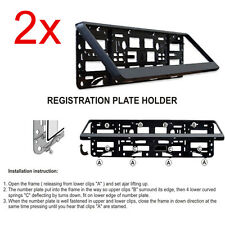 2x Black ABS Number Plate Surrounds Holder Frame For VW Caddy Maxi Life