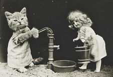 VICTORIAN STEAMPUNK CAT FELINE DOLL DRESS WATER PUMP PHOTO GOTHIC