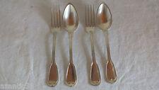 2 fourchettes + 2 cuillères métal argenté filet contour couverts