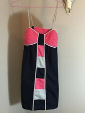 Anthropologie Lilka Color Block Navy Pink Grey Empire Sundress Sz Small Cotton