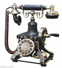Antique-Style Desk Telephone 1892 Reproduction Black Fully Functional Cloth Cord
