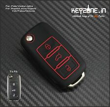 KeyZone Limited Edition Silicone Key Cover for Skoda Laura/Rapid/Superb (Black)