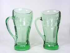 Vintage Coca Cola Green Glasses with Handles Set of 2