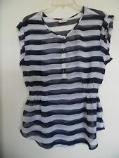 Tommy Hilfiger Short-Sleeve Navy White Striped Sheer Top Women's Sz L EUC