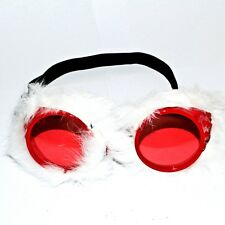 White Fluffy Fur Red Goggles Costume Eyewear Adult Fancy Dress Cosplay Party