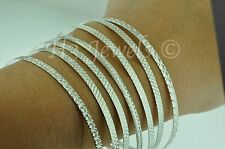 18k solid white gold 7 day bangle diamond cut bangle 32.20 grams h3jewels #3089