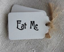 10 EAT ME TAGS-Alice in Wonderland-White-Wedding-Gift-Party-Favour