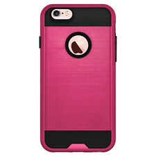 For iPhone 6 6s Premium Hybrid Slim Dual Layer Skin Case Cover - Hot Pink/Black