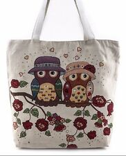 MARRIED OWL COUPLE WITH ROSES fabrics JUTE Bag Shoulder Bag Large Tote