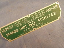 Michaels Art Bronze MiCo Parking Meter Time Limit Plate 60 Minutes