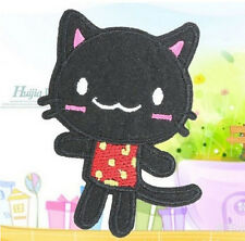 Embroidery Cloth Iron On Patch Sew Motif Applique Black Cat ~1pc DIY-