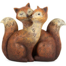 fox love couple design ornament made from resin 12 x 11 x 6cm FO_31915