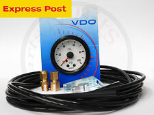 VDO 52mm WHITE/BLACK 100 PSI MECHANICAL OIL OR AIR PRESSURE GAUGE and LINE KIT