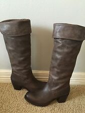 New FRYE Women's Jane Tall Cuff Dark Brown Leather Knee High Boots Sz 7.5 $468