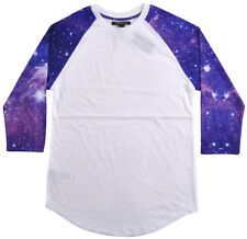 21 Men Forever 21 Raglan Baseball T-Shirt White Purple Galaxy Stars XS-XL NEW