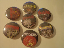 Vintage DEATH METAL  rare 7 x PINS  Unused Buttons badges entombed patch t shirt