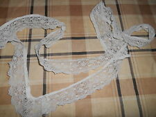 "APPROX 60"" USED 1.1/2"" DEEP CLEAN HAND MADE VICTORIAN EDWARDIAN FINE WHITE LACE"