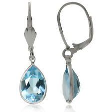 7.46ct. Natural Blue Topaz 925 Sterling Silver Drop Dangle Leverback Earrings