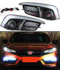 FOR 2016-2017 HONDA CIVIC SEDAN & COUPE FOG LIGHT BEZEL COVER W/ WHITE LED DRL