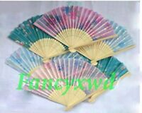 Wholesale 60 Pcs Chinese Silk folding Bamboo Hand Fan Fans Art Handmade Flower