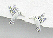 Sterling Silver 14mm Hummingbird Stud Earrings + Premium Heavy Duty Backs 1.7g