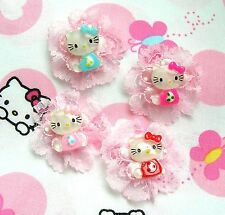 ❤️LOT 4 FLEURS SATIN DENTELLE CABOCHON HELLO KITTY EMBELLISSEMENT SCRAPBOOKING