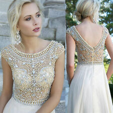 Cap Sleeve Boat Neck Gold Bead Formal Evening Dresses Long Prom Ball Bridesmaid