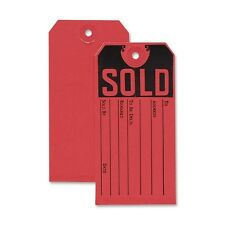 "50 CARDSTOCK RED SOLD PRODUCT TAGS 4-3/4"" x 2-3/8"" GARAGE SALE AUCTION FURNITURE"
