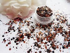Nail Art Chunky *Fire* RoseGold Black Hexagon Glitter Spangle Mix Pot Decoration
