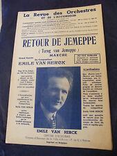 Partition Retour de Jemeppe Terug van Jemeppe 1952 Emile Van Herck  Music Sheet