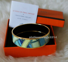 NIB Authentic Hermes Printed Wide Enamel Bracelet Blue Gold Cavalcadour Bangle