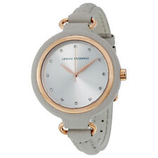 Armani Exchange Women's AX4235 Silver Dial Grey Leather Watch
