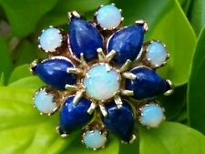 Vintage 14k Yellow Gold Opal  Lapis Starburst Ring Estate Jewelry Ladies 5.5 gm