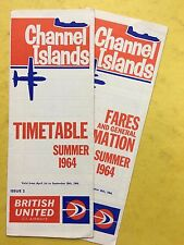BRITISH UNITED - Channel Islands - Timetable & Fares Summer 1964 - Airways