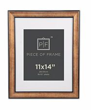 11x14 Photo Frame, Dark Brown & Bronze Pewter Panel, with White Mat for 8x10