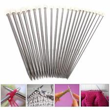 22x New 11Sizes 2-8mm Stainless Steel Single Pointed Crochet Knitting Needles