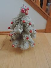 "Vintage White Flocked Mica Snow Bottle Brush Christmas Tree 22"" Mercury Balls"