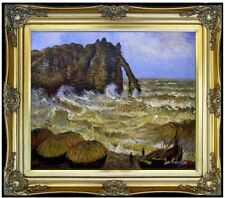 Framed Hand Painted Oil Painting Repro Claude Monet Rough Sea at Etretat 20x24in