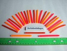 """KNEX BUILDING TOY LOT: 25 Neon Flexi Rods 3 1/4"""" Orange Red Flexible Flex Parts"""